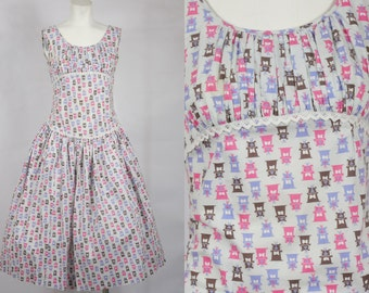 1950 Vintage Pink White Gray and Blue Cotton Drop Waist Day Dress Rockabilly