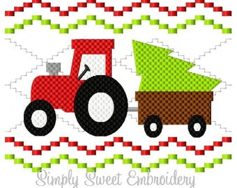 Faux Smocking Tractor Christmas Tree Embroidery Design