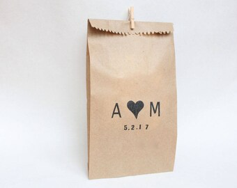 WEDDING favour bags, custom initial stamp, wedding bags, thank you bags, custom wedding FAVOUR BAGS x 10