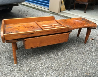 Antique cobblers bench with drawer 16h16d48L Shipping is Not free