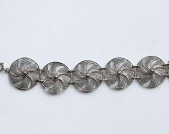 1940s silver Portuguese filigree pinwheel bracelet / 40s vintage 800 silver exquisite round link filigree bracelet made in Portugal