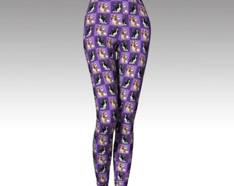 Purple  King Charles Cavalier Spaniel leggings