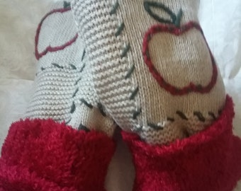 reclaimed red apple teachers gift mittens cuddle mittens