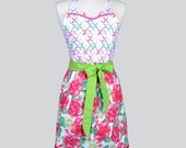 Blossom Womens Apron / Cute Retro Summer Love Fabrics in Large Pink Floral and Sweetheart Coordinating Bodice Deep Side Pockets