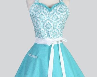 Sweetheart Pinup Apron - Womens 50s Style Flirty Aqua and White Damask and Swirls Retro Vintage Inspired Kitchen Apron with Pocket
