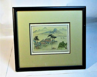 Vintage Japanese Hand Painted Rural Scene Watercolor on Silk from the Eda Varricchio Gallery