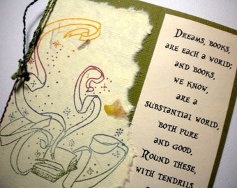 DREAMS & BOOKS ~ Mixed media collage greeting card with bookmark, quote by Wm Wordsworth