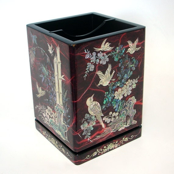 Mother of Pearl Wooden Bamboo Chrysanthemum Orchid Flower Red Pen Pencil Brush Cup Case Box Holder