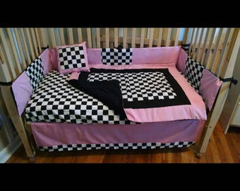 5 piece black pink checker car bedding