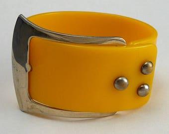 Vintage Plastic Buckle Bracelet Wide Butterscotch Orange  Belt Buckle Clasp