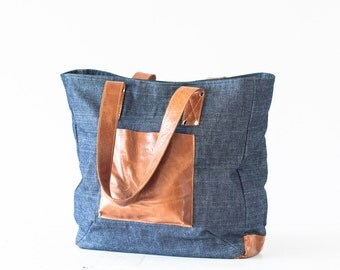 Shoulder purse in blue jeans and brown leather, tote shoulder bag shopper bag purse large tote - The Aella tote