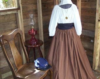 Custom Civil War Colonial Prairie Pioneer Dress  skirt sash and blouse and Hoopslip