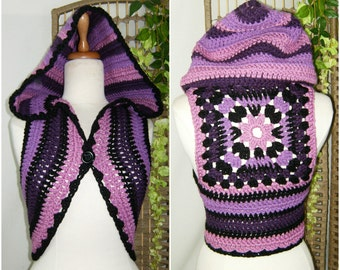Crochet hood  shrug, festival,tribal style, bohemian,Gypsy,woodland,handmade , ready to ship