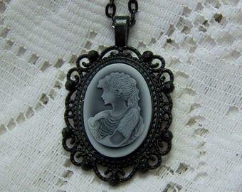GODDESS Cameo Necklace, APHRODITE Cameo Pendant, Goddess Cameo Necklace, Black and White Vintage Style, Ponytail Woman, Gothic Lady Profile
