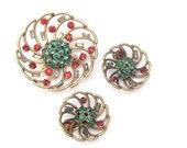 Stanley Singer Pin Earrings Set, Vintage Singer Broch, Clip On Earrings, Rhinestone pin earrings set, Colorful Rhinestones, Designer Signed