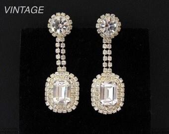 Crystal Chandelier Earrings, Vintage Wedding Jewelry, Wedding Earrings, Pierced Long Dangle Drop, Gift for Bride, Party Prom Sparkling