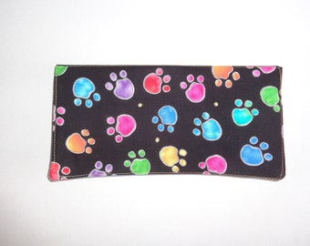 Quilted coupon caddy, billfold, purse organizer, bright animal prints