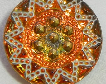 Geometric Sun Czech Glasss Button