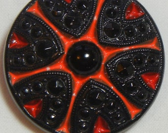 Dramatic Czech Glass Button