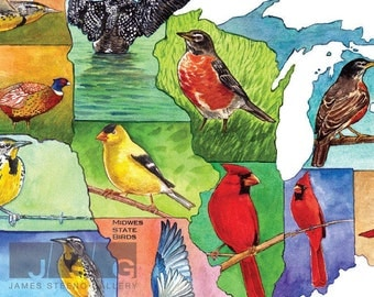 Midwest State Birds Watercolor Collage Art Print