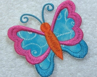 Butterfly Fabric Embroidered Iron On Applique Patch Ready to Ship