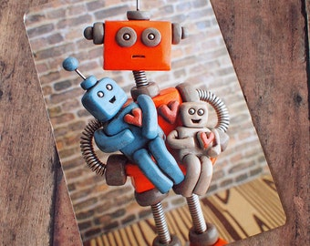 Robot parent with robot children Art Postcard Techie Gift Geeky Love Gift