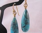SHIPS 11/21 w/Free Gift BARSE Turquoise Teardrop Earrings Bronzed Sterling Silver Pierced Drop Dangle Vintage Jewelry Jewellery