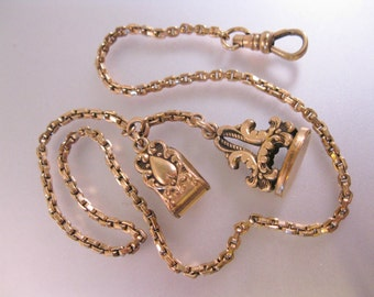 "Antique Gold Filled Pocket Watch Chain with Seal and Belt Clip 14.5"" Signed S.O.B. & Co."