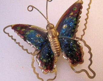 SALE Now On Ends 4/3/17 Vintage Butterfly Pin Brooch Enamel Gold Tone Costume Jewelry Jewellery