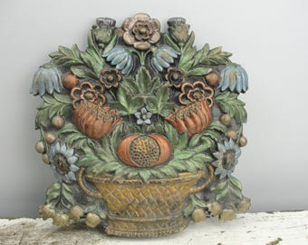 Vintage ceramic flower basket wall hanging hand painted