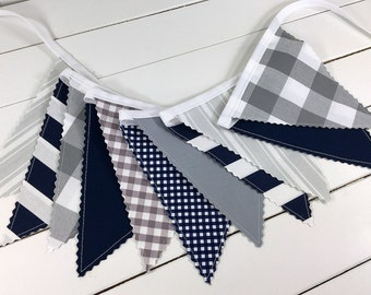 Bunting Banner, Photography Prop, Fabric Flags, Buffalo Plaid, Nursery Decor, Garland, Pennant - Navy Blue, Gray, Grey, Stripes, Gingham
