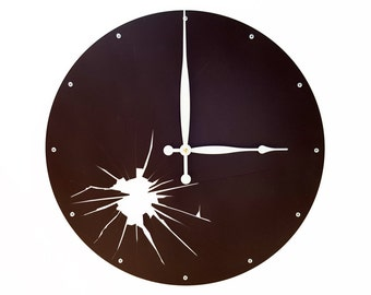 Shattered Metal, Large Wall Clock, Unique Wall Clock, Modern Wall Clock, Steampunk Art, Industrial Home Decor, Big, Laser Cut, Dark Brown