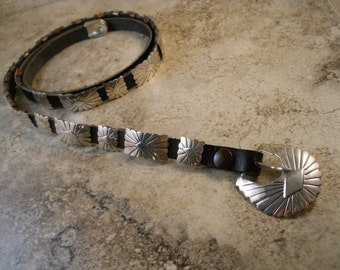 Black Leather Sterling Silver Concho Belt