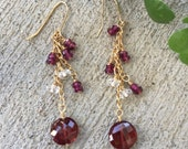 Garnets White Topaz Chandelier Earrings in Gold Filled Wire