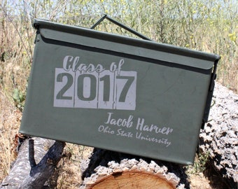 High School Graduation Gift Class of 2017 Gift Box College Graduation Grad Gift for Outdoor Sports Personalized Ammo Can