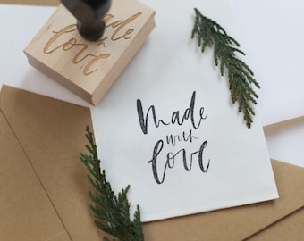 "calligraphy ""made with love"" stamp"