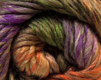 100 Gram Iona Island Donna #27196 Ice Wool Blend Yarn Purple Orange Green Tan Heavy Worsted / Bulky 191 Yards