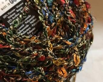 S Charles Collezione Galaxy #5 Metallic Ribbon Twist Yarn - Red, Blue, Green, Ocher, Gold - 50 gram 101 yards