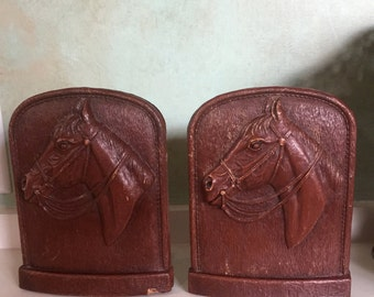 Vintage Wood Horse Head Bookends, Equestrian, Horse Lover, Western Decor