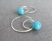 RESERVED for Holly, Robins Egg Blue Hoop Earrings, Blue Earrings, Sterling Silver Spiral Earrings Blue, Blue Lampwork Glass Drop Spiral Hoop