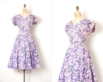 vintage 1950s dress / purple floral print cotton 50s dress / medium - large