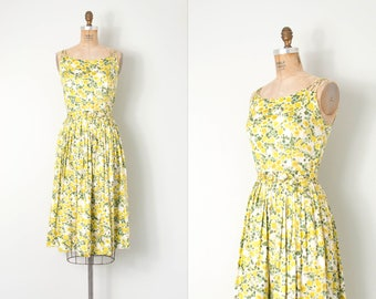 vintage 1950s dress / 50s floral cotton dress / yellow / exra-small - small