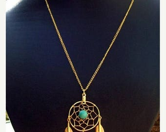 ON SALE Sun and Sky lll -  Gold,Turquoise dream catcher necklace Larger size