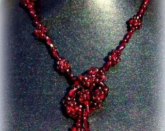 GORGEOUS GARNET ll Deep red Garnet stone necklace, long garnet necklace, garnet jewelry, garnet