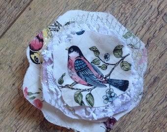 Vintage Shabby Chic Bird Brooch, Handmade Fabric Brooch with Birds
