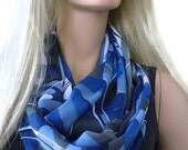 Ocean colors/Cobalt blue and gray-Bold wavy print infinity scarf - chiffon floral Scarf Cowl, loop circle scarf-Instant gratification...