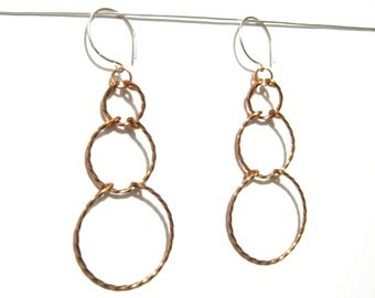 Circles Tiered Earrings in Twisted Copper, Round Hooks, Made to Order, Christmas Gift under 20, Bare Copper, Lightweight, Fashion Accessory