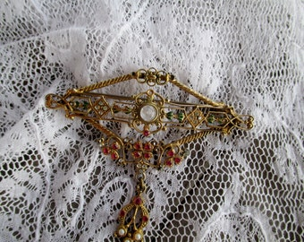 Victorian inspired collar pin, Ladies Brooch, Vintage Jewelry, Costume Jewelry