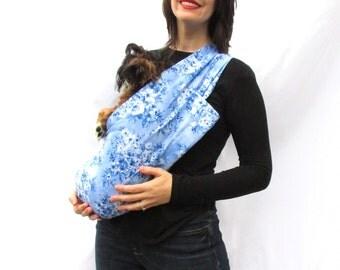 Pet Dog Sling Carrier Blue Vintage Floral with Shoulder Pocket