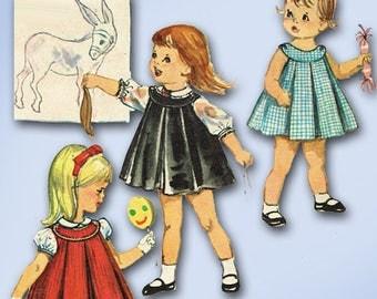 1960s Vintage Simplicity Sewing Pattern 4713 Toddler Girls Sun Dress or Jumper 2